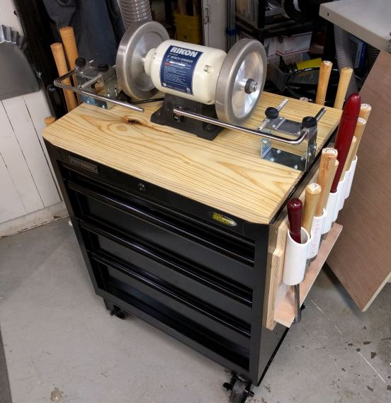 Lathe Sharpening And Tool Cart Grain Amp Grain By Dave
