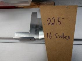 Squaring off the end of the template with an 11.25° angle
