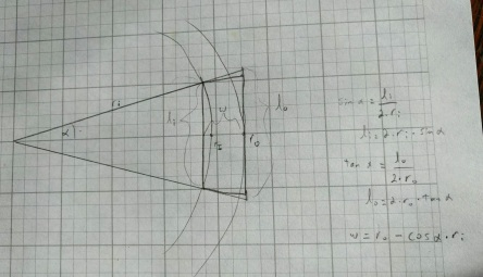How the two radii and your angle α determine the segment's dimensions