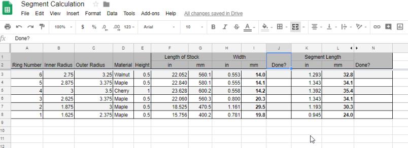 Sample spreadsheet output